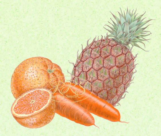 Oranges, carrots and a pineapple