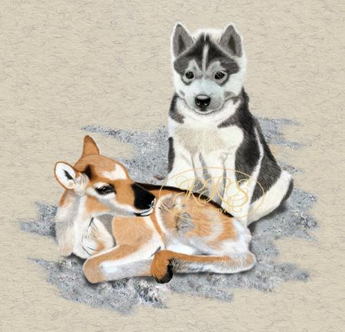 Põhjapõdravasikas husky-kutsikaga